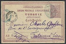 Turkey 1899 PC Constantinople to Fontaine-L'Eveque