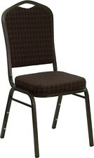 Crown Back Stacking Banquet Chair in Brown Patterned Fabric with Gold Vein Frame