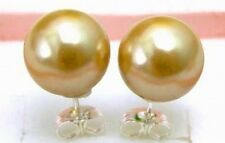 SALE Big 10MM Champagne Sea Shell Pearl Round Earring with silver S925 stue-e152