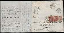 PENNY REDS + BANTAM HALFPENNY to CANNES FRANCE + LETTER CAMBRIDGE SIGNED WAYMAN