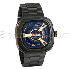 Men's Fashion Cool Stainless Steel Square Dial Quartz Analog Wrist Watch Unique