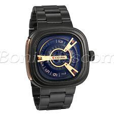 Men's Fashion Cool Stainless Steel Square Dial Quartz Analog Wrist Watch Unique