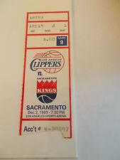 Los Angeles Clippers Sacramento Kings 12-2-89 Ticket Stub SK3