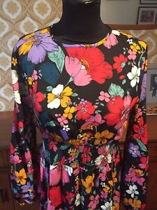 Vintage Style Psychedelic Flower Power Maxi Festival 10 70s