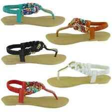 New Women Sandals Summer Rhinestone Low Heels Shoes Flip Flops T-strap GRACE-01