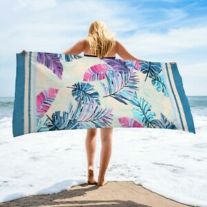 Palm Leaves Beach Towel | 100% Turkish Soft Luxury Cotton Towel | Travel Towel