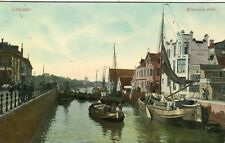 Netherlands Zaandam - Wilhelmina Sluis old postcard with Wall Ads on the right