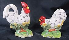 Rooster & Hen from the Farm White ceramic S&P Shakers kitchen decor