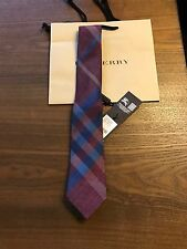New Authentic Burberry Nova Check Plaid Logo Men Tie Haymarket Burgundy Blue 165