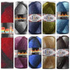 Alize Rainbow - Alpaca Bouclegarn - 350 g - 9 Farbverläufe