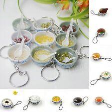 Key Chain Ring Fake Chinese Food Bowl Noodle Dessert Zakka Charm Strap Pendant O