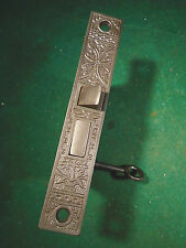 VINTAGE EASTLAKE MORTISE LOCK w/KEY - PROBABLY NORWICH RECONDITIONED (8032)