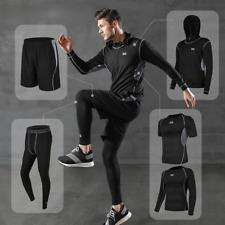 5 Pcs/Set Men's Tracksuit Gym Suit Clothes Running Exercise Fitness Sport Wear