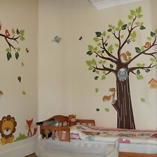 Kids Jungle Animals Tree Forest Owl Nursery Wall Stickers Childrens Room Tree