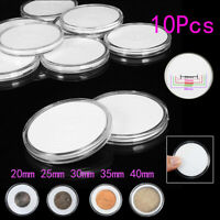 10Pcs 20~40mm Clear Round Plastic Coin Holder Capsule Container Storage Case Box