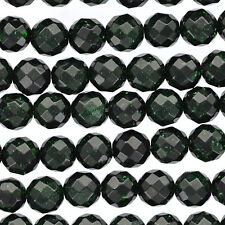Dark GREEN GOLDSTONE Round Faceted Beads 10mm . 1 strand about 40 beads ggs0018