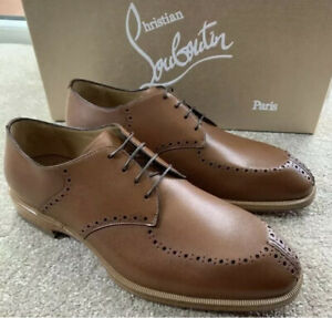 Christian Louboutin Derby Shoes A Mon Homme Flat Tan Leather UK 6 Eu 40 New