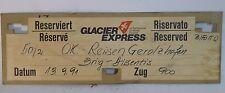 Original Zuglaufschild Glacier-Express Karton 70x23cm Eisenbahnromantik RARITÄT