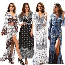 Fashion Women Bohemian Long Dress Summer Trumpet Sleeves Beach Party Cardigan