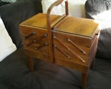 Vintage Norway Strommen Bruk Hamar Expandable Wood Sewing Box Cabinet-Vtg MCM