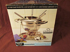 NEW ONEIDA IMMACULATE FONDUE POT 18 10 STAINLESS STEEL  6 FORKS STERNO WARMER