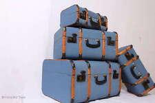 Set 4 Vintage Koffer Oldtimerkoffer Holzkoffer Blau Holzleisten Halbrund Antique