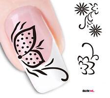 Nail Art de transferencia de agua Pegatina Adhesivos Calcomanías flores blanco y negro (DX1563)