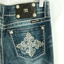 Miss Me Mid Rise Skinny Jeans Size 27x33 Fleur Cross Embellished Bling EUC