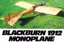 "Model Airplane Plans (RC): Blackburn 1912 Monoplane 50"" ≈1/7 Scale for ..20-.25"