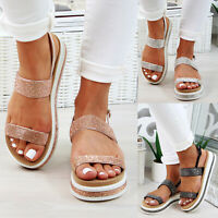 New Womens Flatform Sandals Embellished Ankle Strap Comfy Holiday Shoes Sizes