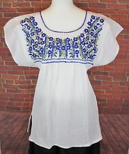 White Peasant Boho 100% Gauze Cotton Mexican Silk Embroidered Blouse Top Medium