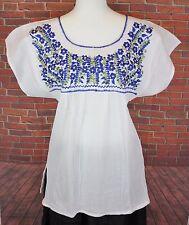 White Peasant Boho 100% Gauze Cotton Mexican Silk Embroidered Blouse Top Medium
