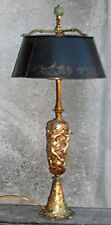 Antique French Repousee Brass Banquet Lamp Figural Baccantes Nudes Tole Shade
