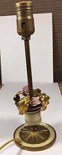 Vintage Gilt Tole Floral Brass Boudoir Lamp with Porcelain Flowers
