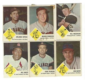 18 different 1963 Fleer Baseball Cards with 3-HOFers; HB:$370