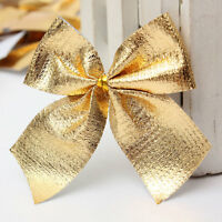 24X 6cm Golden Bows Ribbon Christmas Tree Party Gift Present Xmas Decoration