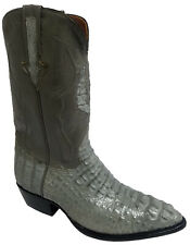 Mens Gray Crocodile Skin Cowboy Boots Hornback Genuine Leather J Toe Size 11