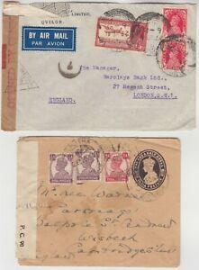 INDIA 1942/45 2x CENSOR covers *QUILON-LONDON* & LUCKNOW-WISBECH CAMBRIDGESHIRE