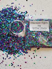 Nail Art Mixed Glitter ( Hawaiian Nights ) 10g Bag Holographic Chunky Blue Dots