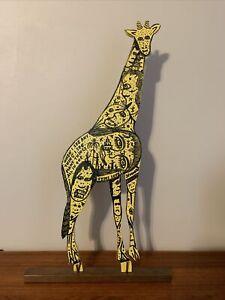 Howard Finster Giraffe Signed & Dated May 21, 1990 - 14,679 Works Early Folk Art