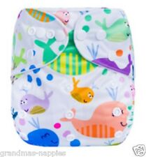 MODERN CLOTH NAPPIES REUSABLE ADJUSTABLE DIAPERS Whales SHELL