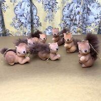 Vintage MCM Squirrel Figure Christmas Ornament Felt Faux Fur Set of 7 Kitsch