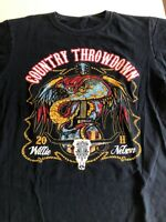 2011 Willie Nelson Country Throwdown Tour T Shirt Men's L Black S/S Band Tee