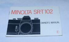 MINOLTA SR-T102 SRT102 Camera Guide Owners Manual Instruction Photography Book
