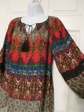 Fig & Flower Anthropologie Brightly Colored Tunic Shirt Size M