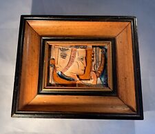 Mid Century Modern-Cubist-Abstract-Fr amed Ceramic Relief Art Tile-J Ruth-Israel