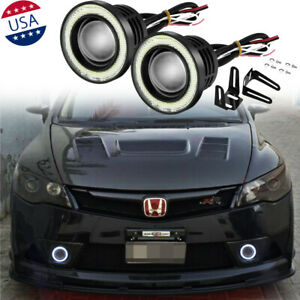 2x White LED Fog Light Lamp Projector Angel Eye Halo Ring Lights for Honda Civic