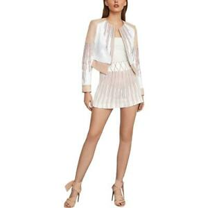 BCBGMAXAZRIA Womens White Striped High Rise Printed Shorts XS BHFO 0583