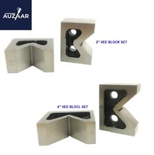 Combo Of 2 Sets Of Cast Iron Vee Block Pair 2 Amp 4 Inch V Block Without Clamp