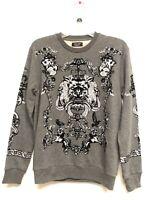 NWT ZARA MAN Grey lightweight sweatshirt FLOCKED HERALDIC L  $49 CHARCOAL DESIGN